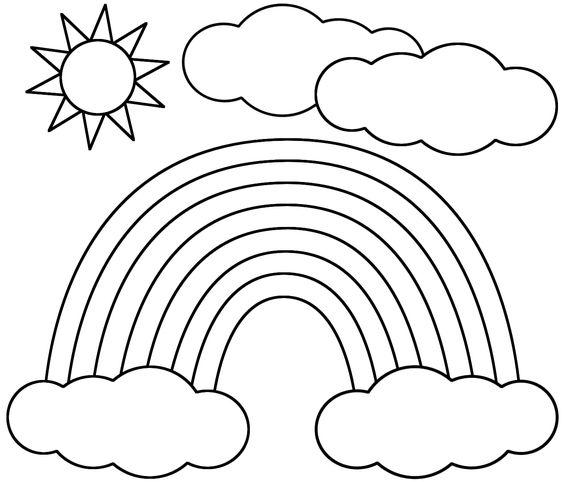hình vẽ cầu vồng đám mây và mặt trời đẹp cho bé tập tô