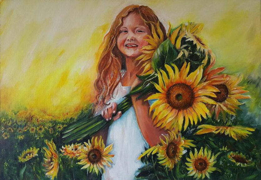 hình vẽ cô gái ôm bó hoa hướng dương dễ thương