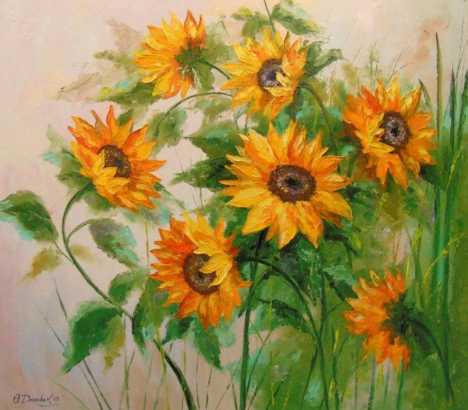khóm hoa hướng dương màu cam rực rỡ vẽ bằng sơn dầu