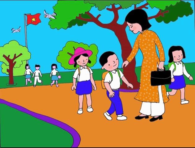 ảnh vẽ cô giáo và học sinh ý nghĩa