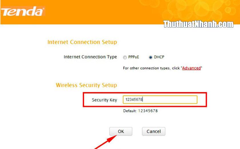 nhập mật khẩu mới cho wifi tenda