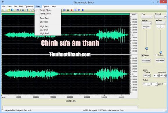 phan mem chinh sua am thanh Akram Audio Editor
