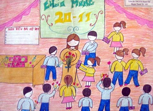 tranh 20-11 ý nghĩa về ngày nhà giáo việt nam