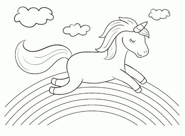 tranh chú ngựa pony dễ thương chạy trên cầu vồng