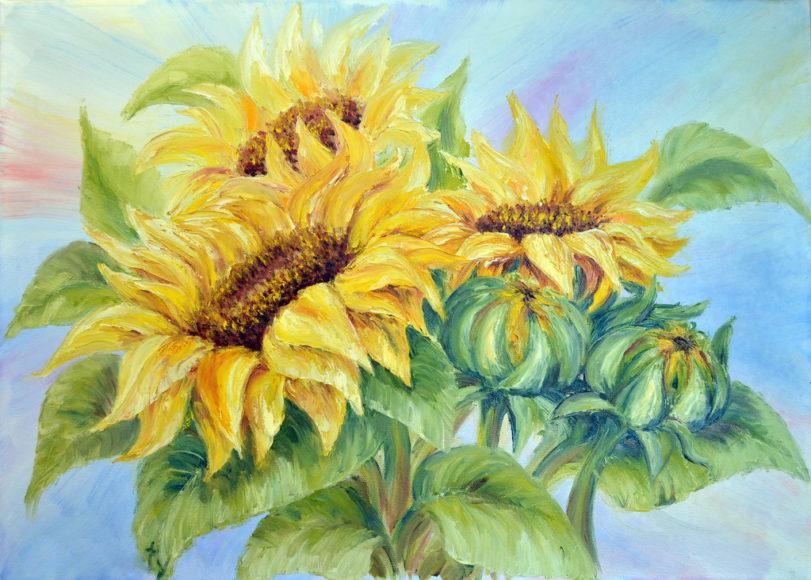 tranh sơn dầu vẽ hoa hướng dương