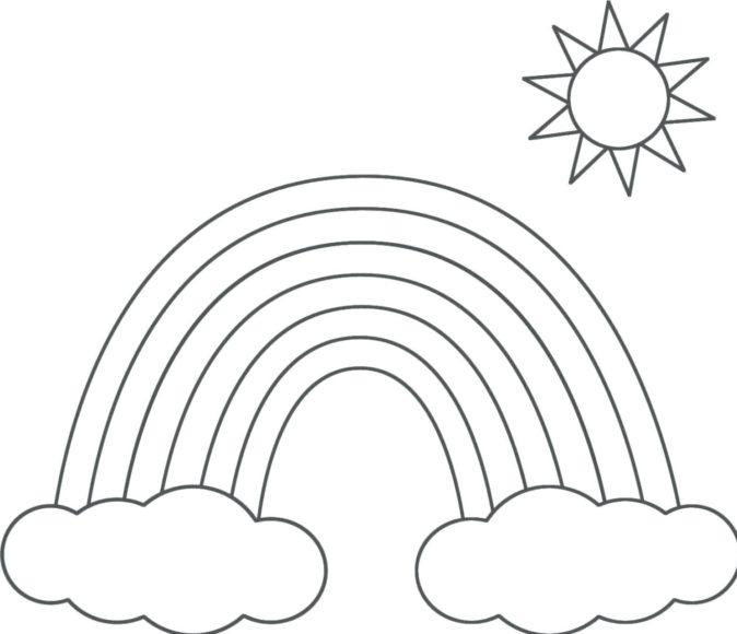 Tranh tô màu cầu vồng đẹp đám mây và ông mặt trời