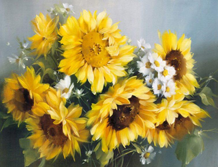 tranh vẽ 3D bó hoa hướng dương đẹp nhất