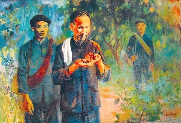 tranh vẽ Bác Hồ trên đường đến Pác Bó bằng sơn dầu