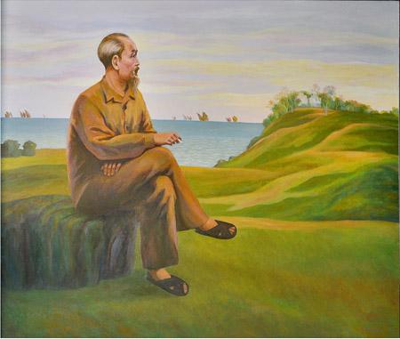 tranh vẽ Bác Hồ trên núi Trường Lệ Thanh Hóa 1960 bằng sơn dầu