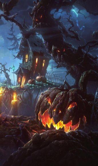 tranh vẽ bí ngô trong đêm halloween làm hình nền điện thoại