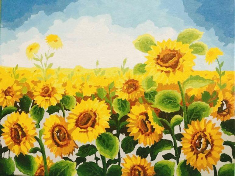 tranh vẽ cánh đồng hoa hướng dương bằng chất liệu sơn dầu