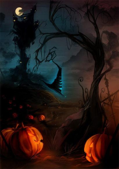 tranh vẽ đêm lễ hội halloween rùng rợn