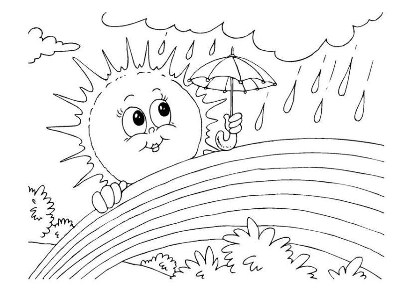 tranh vẽ đen trắng mặt trời che mưa cho cầu vồng cute