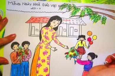 Tranh vẽ ngày Nhà giáo Việt Nam 20 11