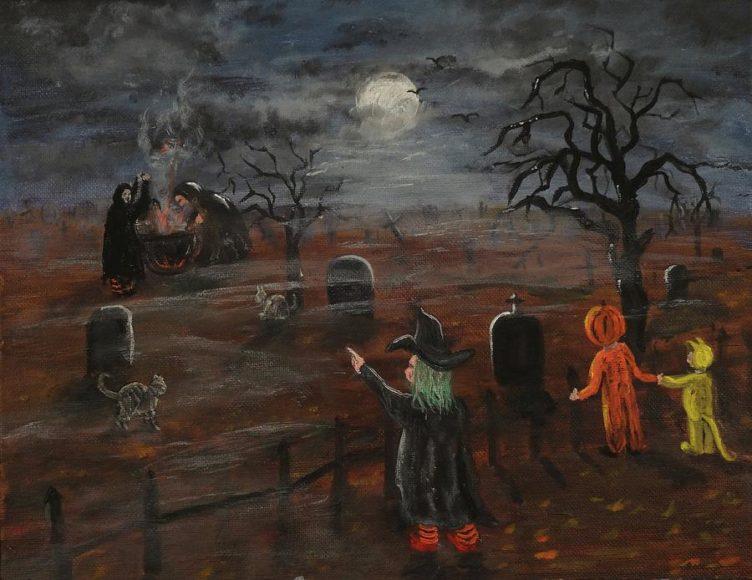 tranh vẽ phù thủy halloween tại nghĩa địa