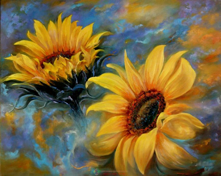 tranh vẽ sơn dầu hoa hướng dương nghệ thuật