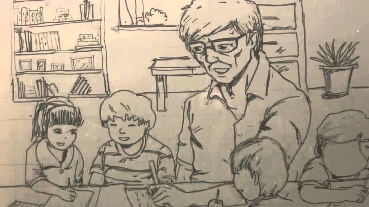 vẽ tranh 20-11 bằng bút chì độc đáo, ý nghĩa và ấn tượng về người thầy đang dạy học trò