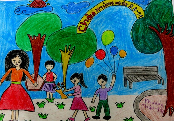 vẽ tranh 20 11 ngày Nhà giáo Việt Nam