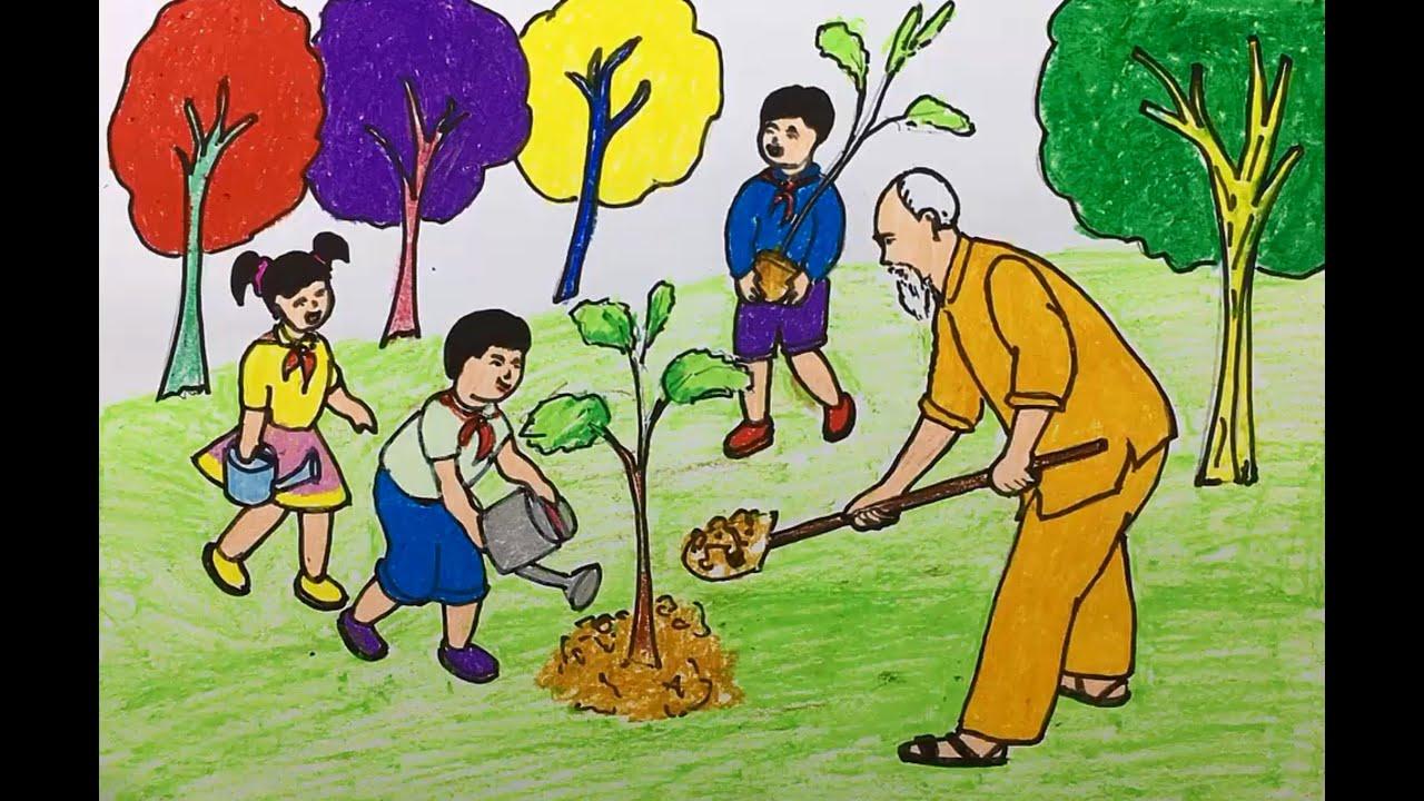 vẽ tranh bác hồ cùng các em thiếu nhi trồng cây đơn giản