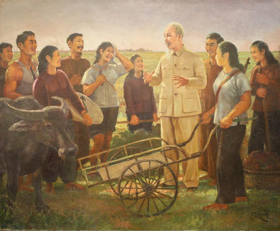 vẽ tranh Bác Hồ trò chuyện cùng nhân dân