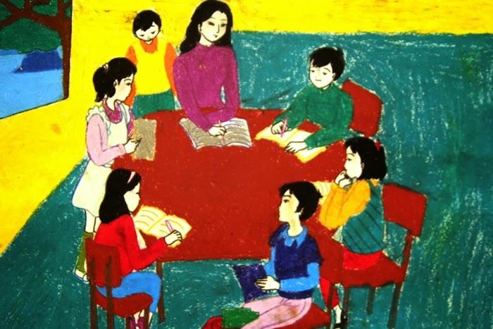 vẽ tranh bằng màu nước cô giáo giảng bài cho học sinh