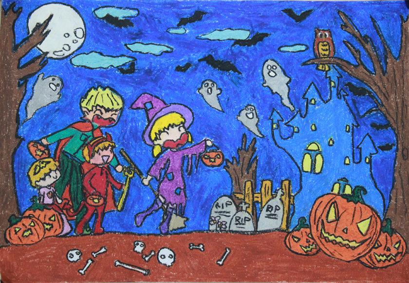vẽ tranh đề tài lễ hội halloween vui vẻ