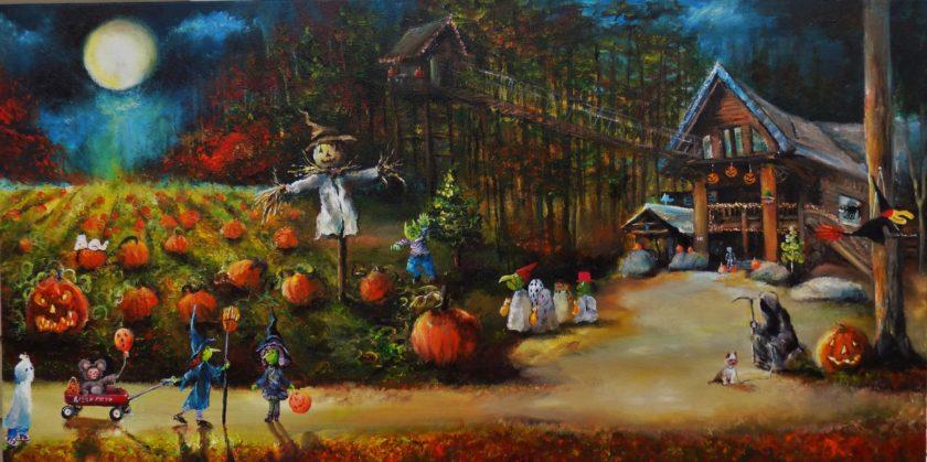vẽ tranh lễ hội hóa trang halloween vui nhộn đẹp nhất bằng màu nước