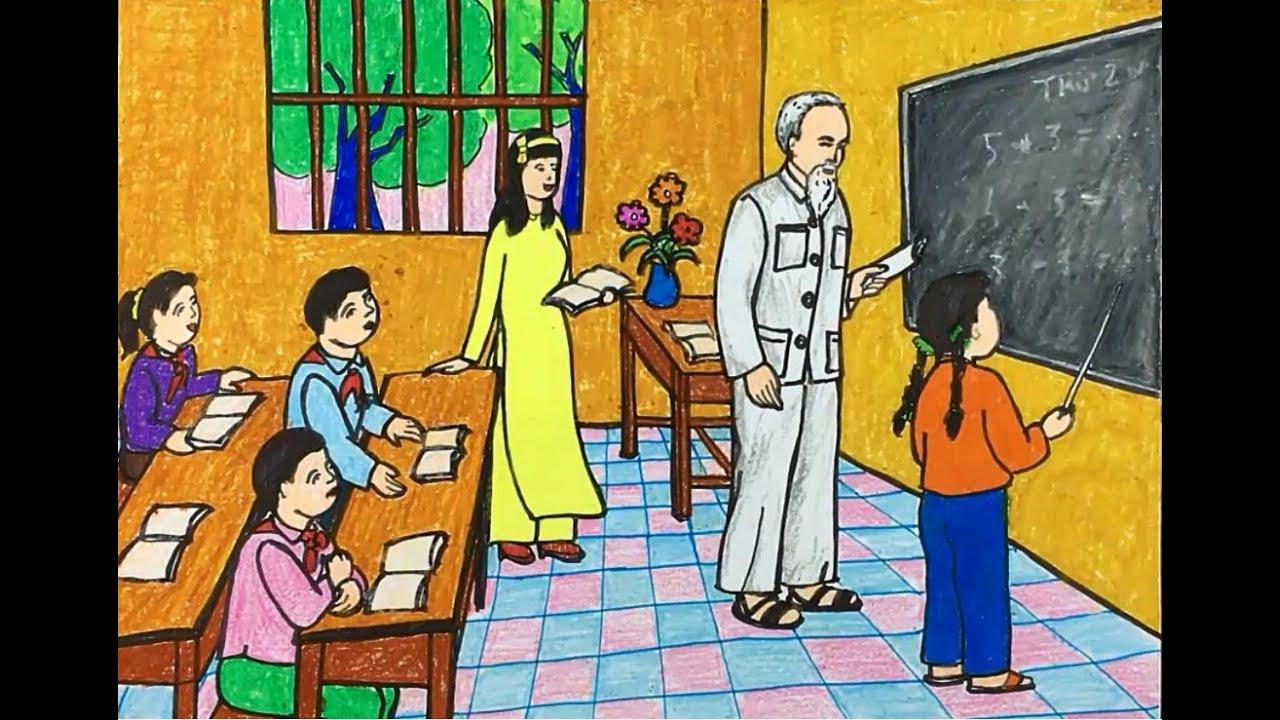 vẽ tranh về bác hồ dạy học các em thiếu nhi