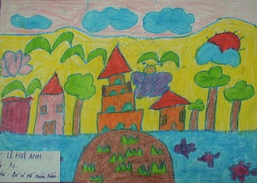 bức tranh vẽ hồ hoàn kiếm của học sinh