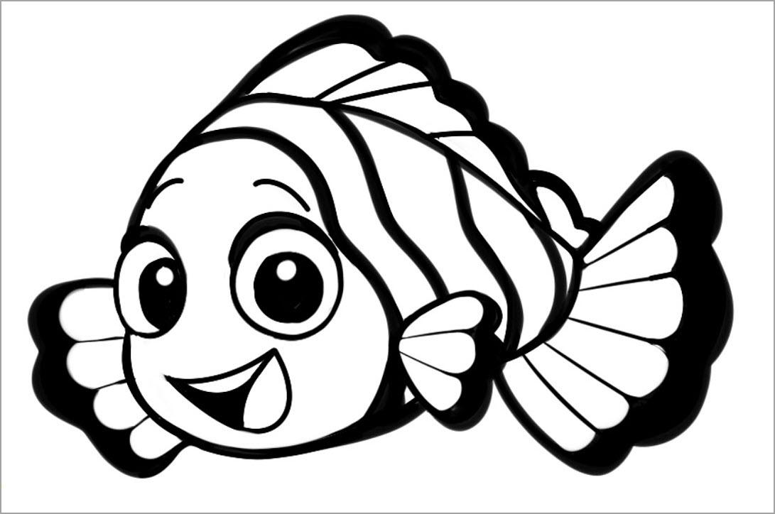 hình con cá hề đen trắng cho bé tô màu
