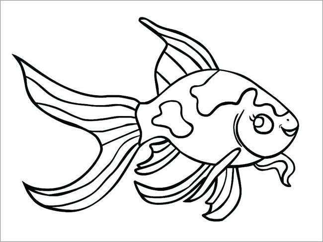 hình vẽ con cá cảnh đen trắng bé tập tô