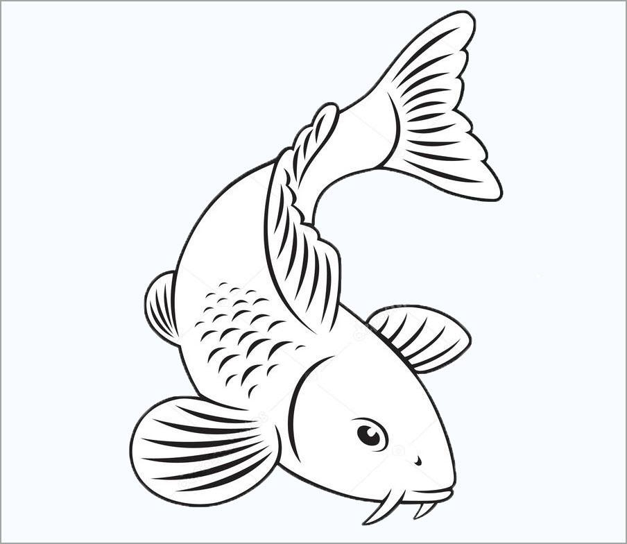 hình vẽ con cá chép cho bé tập tô