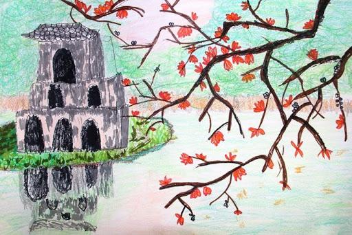 những bức tranh về hà nội đẹp nên thơ tháp rùa