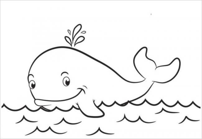 tranh tô màu cá voi xanh dễ thương