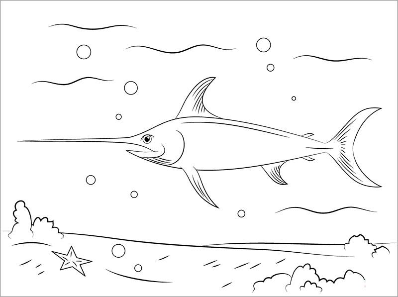 tranh tô màu con cá kiếm