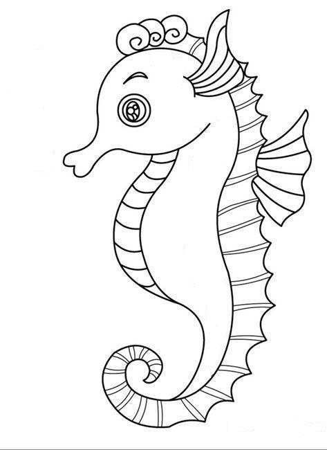 tranh vẽ cho bé tập tô con cá ngựa