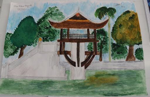 tranh vẽ chùa một cột Hà nội