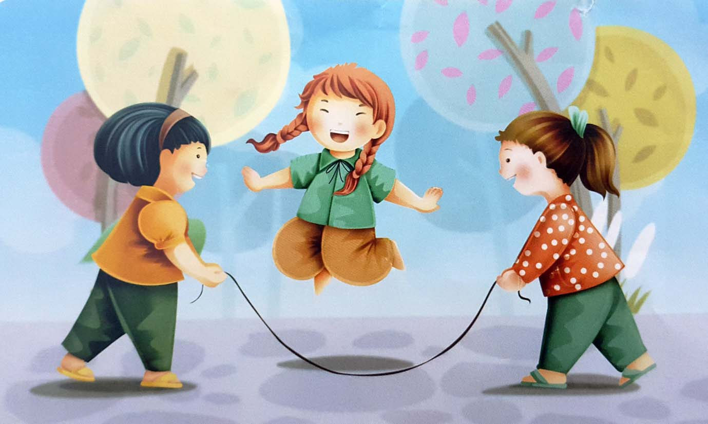 tranh vẽ đề tài trò chơi dân gian nhảy dây