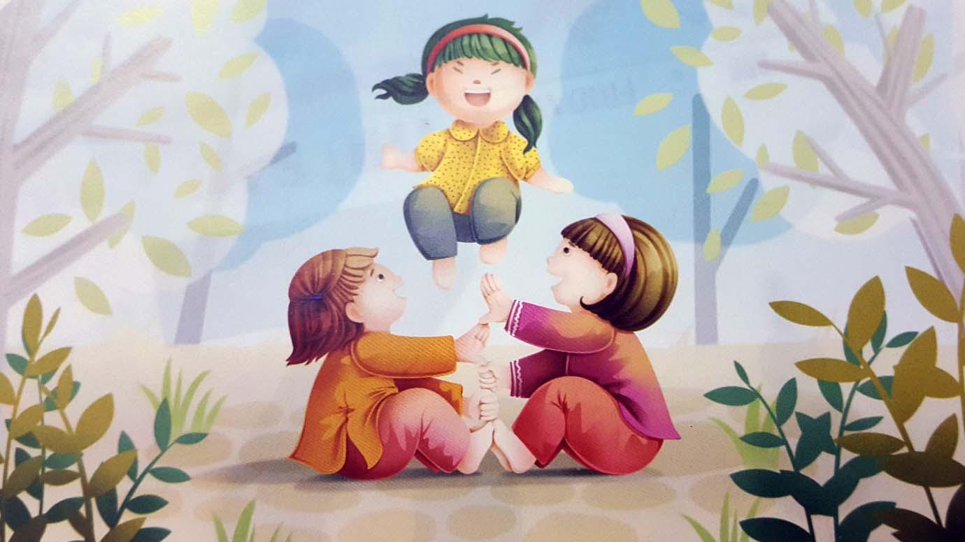 tranh vẽ đề tài trò chơi dân gian nhảy nụ