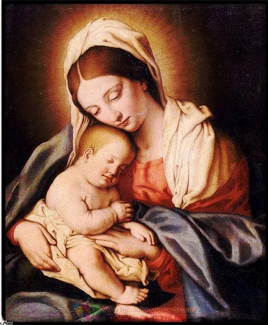Tranh vẽ hình ảnh mẹ và con trong đạo Thiên Chúa Giáo