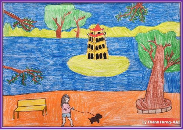 tranh vẽ hồ gươm của học sinh tiểu học