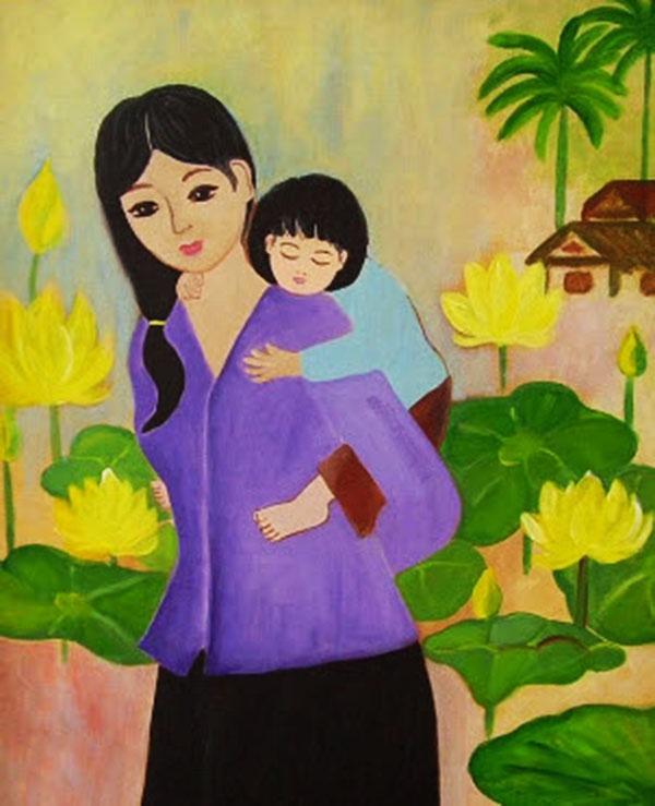 tranh vẽ mẹ cõng con ngắm hoa