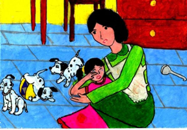 tranh vẽ mẹ của em hiền hòa dỗ dành em