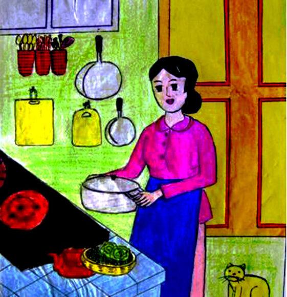 tranh vẽ mẹ đang nấu ăn lớp 6 đơn giản