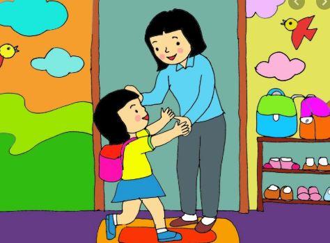 tranh vẽ mẹ đón bé khi đi học về