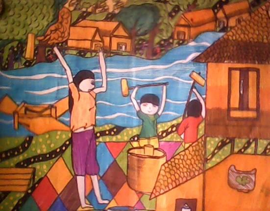 tranh vẽ mẹ và các con cùng giã gạo