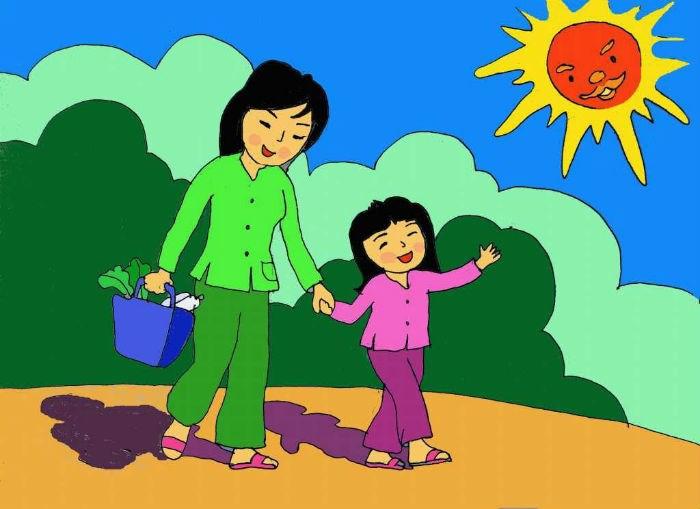 tranh vẽ mẹ và con gái đẹp nhất