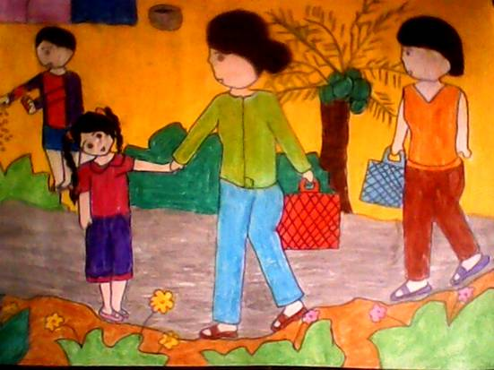 tranh vẽ mẹ và con gái đi chợ