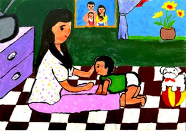 tranh vẽ mẹ và con lúc thơ bé