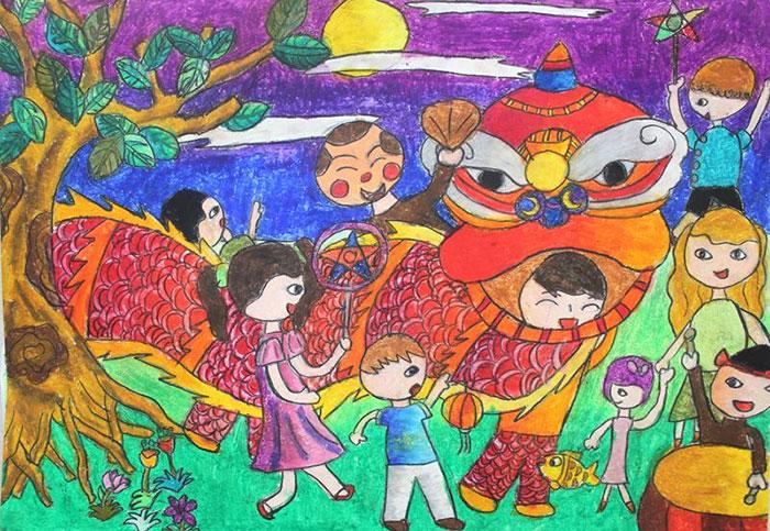 tranh vẽ tết trung thu múa lân